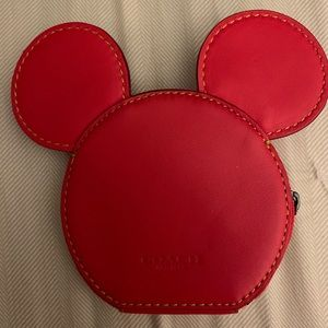 Coach zip wallet red never used Mickey